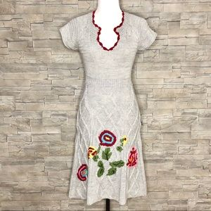 Desigual grey embroidered sweater dress